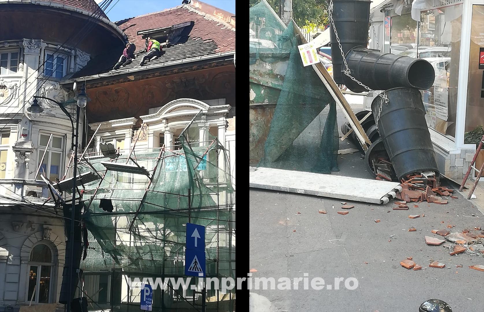 INCIDENT. Schela unei clădiri vechi aflate în renovare s-a prăbușit în zona Pieței Romane. Doi muncitori au rămas blocațipe acoperișul clădirii.